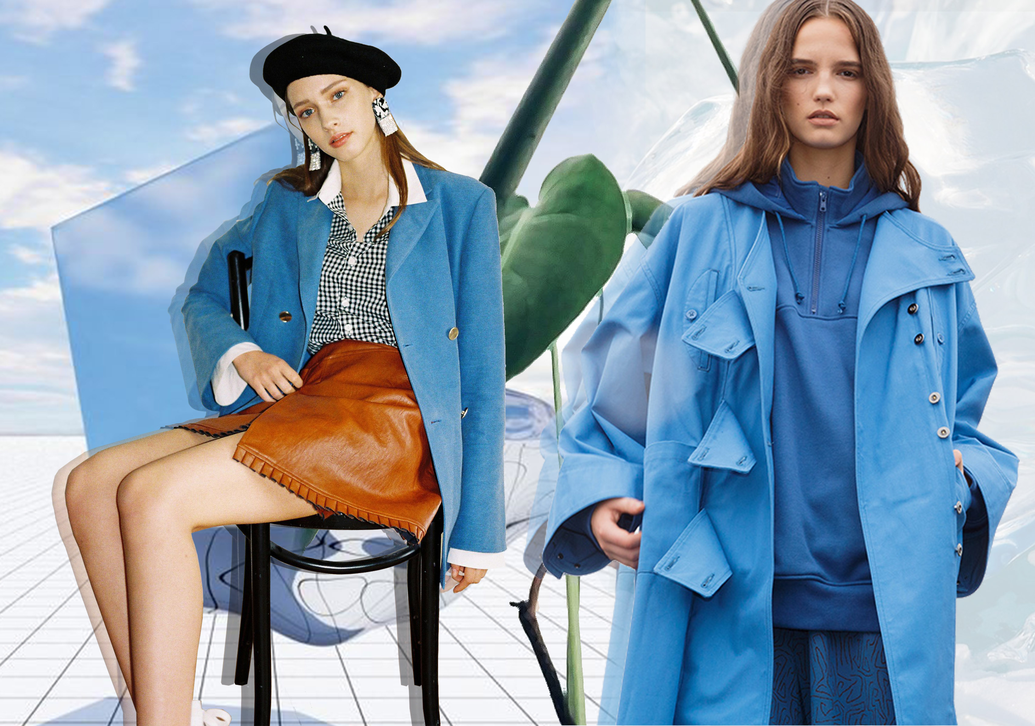 Blue & Green -- 19/20 A/W Color Trend for Women's Overcoat