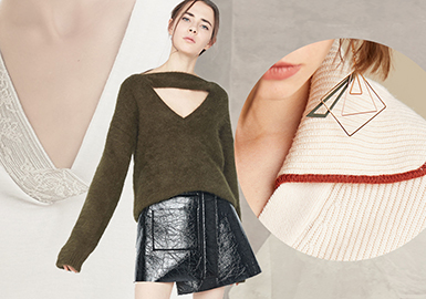 Key Neck Design -- 20/21 A/W Craft Trend of Women's Knitwear